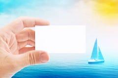 Cartão de With Blank Visiting do agente do turista imagem de stock royalty free