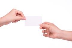 Cartão de Businnes no fundo branco Fotos de Stock