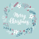 Cartão de Callygraphic do Natal - V floral tirado mão ilustração do vetor