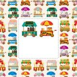 Cartão de carro da loja do mercado dos desenhos animados Fotos de Stock Royalty Free