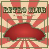 Cartão de carro do vintage com efeito cortado Ilustração do vetor Imagem de Stock Royalty Free