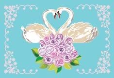 Cartão de casamento com cisnes Fotos de Stock Royalty Free
