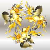 Cartão de casamento com fundo da grinalda das íris amarelas ilustração stock
