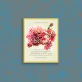 Cartão de casamento do convite com cravo da aquarela Foto de Stock Royalty Free