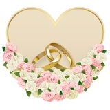 Cartão de casamento do vetor com anéis ilustração royalty free