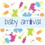 Cartão de chegada do bebê Imagens de Stock Royalty Free