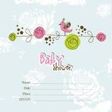 Cartão de chegada do bebê - cartão da festa do bebê ilustração stock