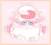 Cartão de chegada do bebê para a menina Fotos de Stock Royalty Free