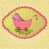 Cartão de chegada ilustrado bonito do bebê do doodle Imagem de Stock Royalty Free