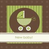 Cartão de chegada novo do bebê fotografia de stock royalty free