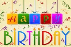 Cartão de costura da etiqueta do feliz aniversario com fita Fotografia de Stock Royalty Free
