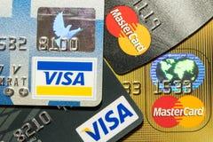 Cartão de crédito ascendente mais próximo Imagens de Stock Royalty Free