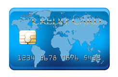 Cartão de crédito azul com mapa de mundo Fotografia de Stock