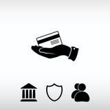 Cartão de crédito bancário com mão, ilustração do vetor Chiqueiro liso do projeto Imagens de Stock