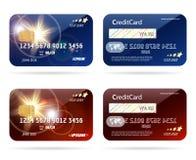 Cartão de crédito com ícones da microplaqueta ilustração do vetor