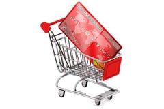 Cartão de crédito com carro de compra Foto de Stock Royalty Free