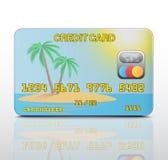 Cartão de crédito com a imagem da ilha. Ilustração Stock