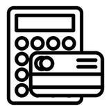 Cartão de crédito com linha ícone da calculadora Ilustração do vetor do pagamento isolada no branco Projeto do estilo do esboço d ilustração royalty free