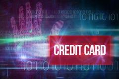 Cartão de crédito contra o projeto azul da tecnologia com código binário Fotos de Stock