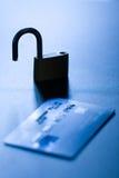 Cartão de crédito desprotegido foto de stock