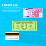 Cartão de crédito do Euro do dólar da cédula do dinheiro da moeda Foto de Stock Royalty Free