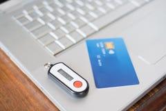 Cartão de crédito e pino sem contato da segurança Imagens de Stock