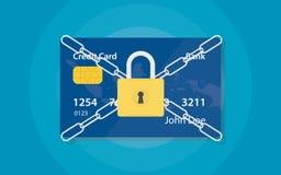 Cartão de crédito fechado com a corrente e o cadeado do stell para salvar o dinheiro e o débito ilustração royalty free