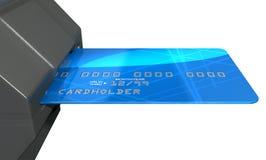 Cartão de crédito no entalhe do pagamento Imagens de Stock Royalty Free