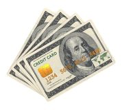Cartão de crédito projetado na cédula do dólar. Foto de Stock