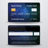 Cartão de crédito realístico detalhado do vetor Parte dianteira e verso Dinheiro, símbolo do pagamento Fotografia de Stock Royalty Free