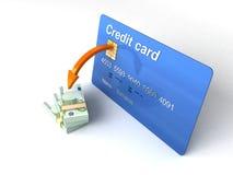 Cartão de crédito rendido com euro- moeda ilustração do vetor