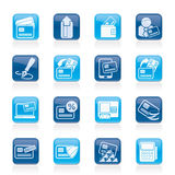 Cartão de crédito, terminal da posição e ícones do ATM Imagem de Stock