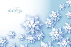 Cartão de cumprimentos azul do Feliz Natal Floco da neve do corte do Livro Branco Decoração do ano novo feliz Fundo dos flocos de ilustração stock