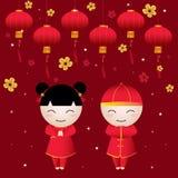 Cartão do menina-menino de Chiness ilustração do vetor