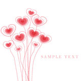 Cartão de cumprimentos com corações florais ilustração do vetor