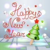 Cartão de cumprimentos da rotulação dos cumprimentos 3d do ano novo feliz ilustração stock