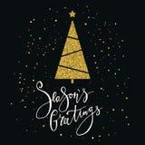Cartão de cumprimentos das estações com a árvore e o floco de neve de Natal do brilho do ouro Rotulação moderna Convite do ano no Imagem de Stock Royalty Free