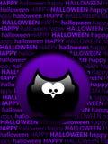 Cartão de cumprimentos de Dia das Bruxas com corujas dos desenhos animados Fotos de Stock Royalty Free