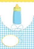 Cartão de cumprimentos do bebê com frasco ilustração royalty free