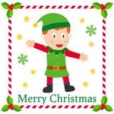 Cartão de cumprimentos do duende do Natal Fotografia de Stock