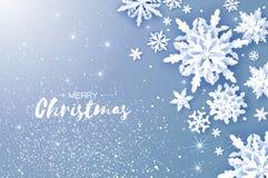 Cartão de cumprimentos do Feliz Natal e do ano novo feliz Flocos de neve do corte do Livro Branco Fundo da decoração do inverno d Ilustração Royalty Free