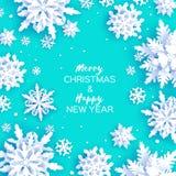 Cartão de cumprimentos do Feliz Natal e do ano novo feliz Flocos de neve do corte do Livro Branco Fundo da decoração do inverno d Ilustração Stock