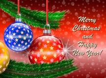 Cartão de cumprimentos do Feliz Natal e do ano novo feliz Fotos de Stock Royalty Free