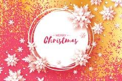 Cartão de cumprimentos do Natal do origâmi Floco da neve do corte do papel Ano novo feliz Fundo dos flocos de neve do inverno Qua ilustração royalty free