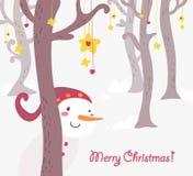 Cartão de cumprimentos engraçado do Natal do boneco de neve Foto de Stock