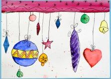 Cartão de cumprimentos feito à mão por feriados de inverno Imagens de Stock
