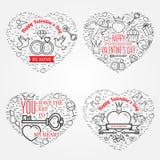 Cartão de cumprimentos feliz do dia de Valentim, etiquetas, crachás, símbolos, i Imagem de Stock Royalty Free