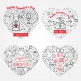 Cartão de cumprimentos feliz do dia de Valentim, etiquetas, crachás, símbolos, i Imagens de Stock
