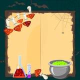Cartão de Dia das Bruxas com atributos mágicos Imagens de Stock