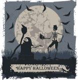 Cartão de Dia das Bruxas com esqueleto e crânio Imagem de Stock Royalty Free